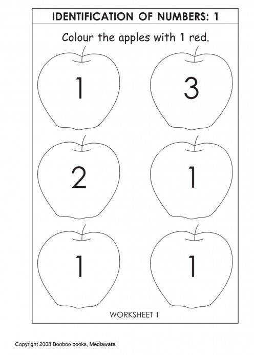 Printable kindergarten worksheet Number identification recognition