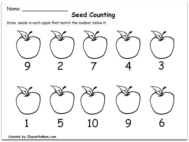 Counting Worksheets 1 10 with an Apple Theme Writing the Number of Seeds with