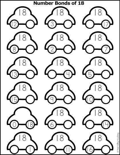 Number Bonds of 18 colouring worksheet with a car theme