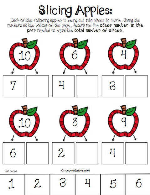 Cute FREE printable pages to help kids work on number bonds Use apple slices