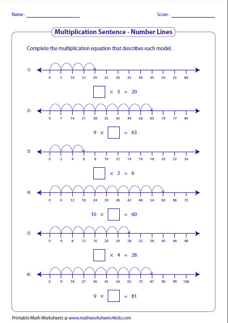 pleting Multiplication Sentences Number Lines