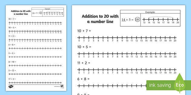 Addition to 20 with a Number Line Activity Sheet number line worksheet