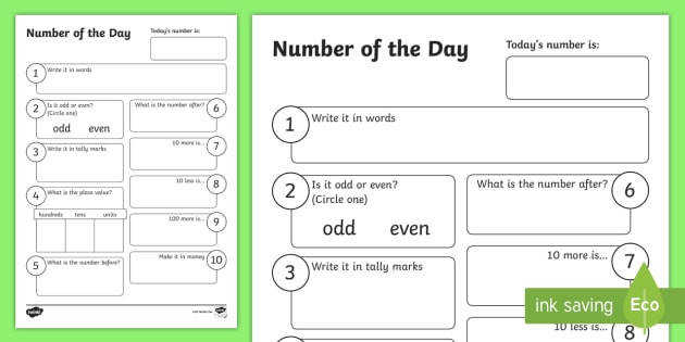 Number of the Day Activity Sheet New Zealand Back to School Worksheet