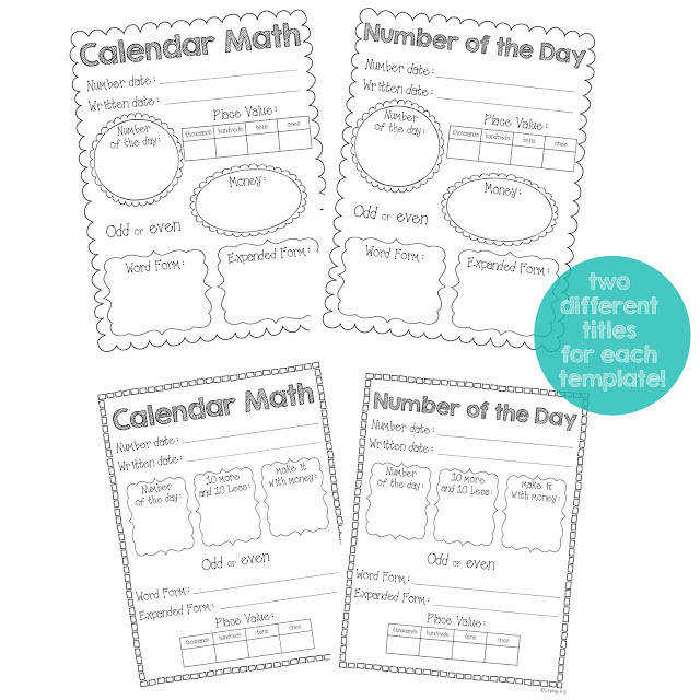 Number of the Day Worksheet Second Grade