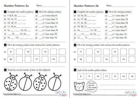 Number Pattern Worksheets Set 2