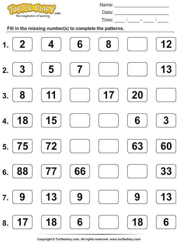 Skip counting number sequence pattern worksheet