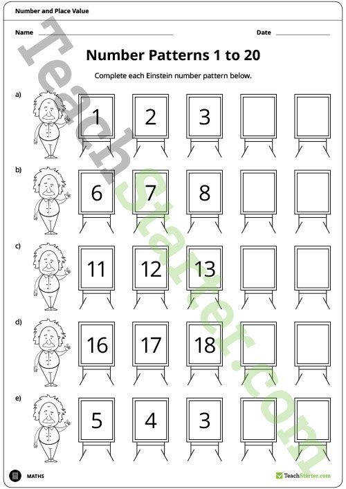 Einstein Number Pattern Worksheets 1 to 20 Teaching Resource – Teach Starter