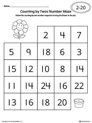Counting by Twos Number Maze Worksheet