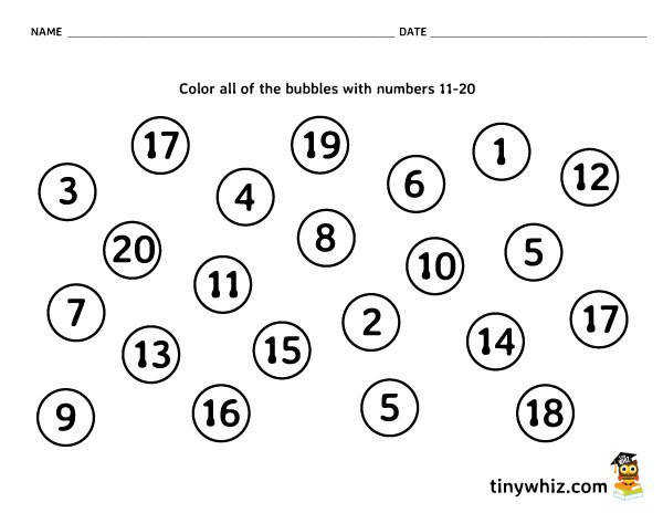 Number Recognition Free Math Worksheet Pre K and Kindergarten