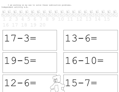 teddy take aways subtraction worksheets