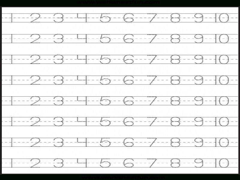 Number Tracing – 1 10 – Worksheet Free Printable Worksheets