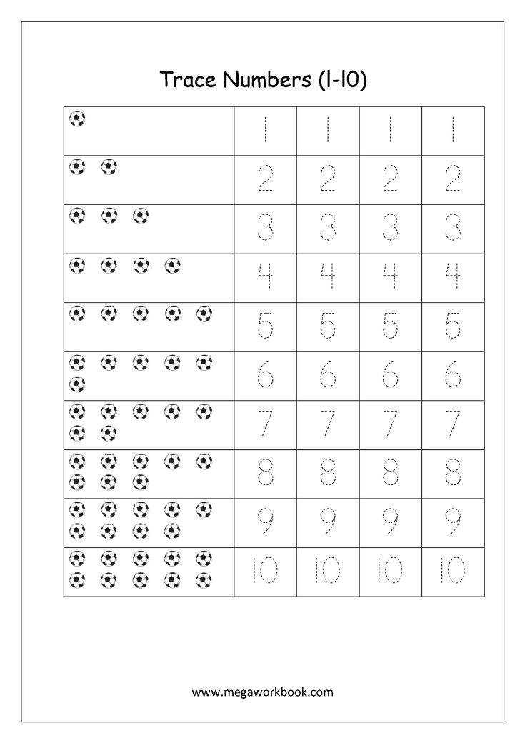 Math Worksheet Number Tracing 1 to 10
