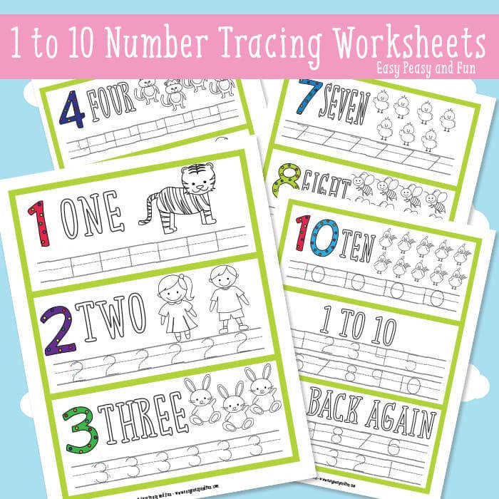 1 to 10 Number Tracing Worksheets