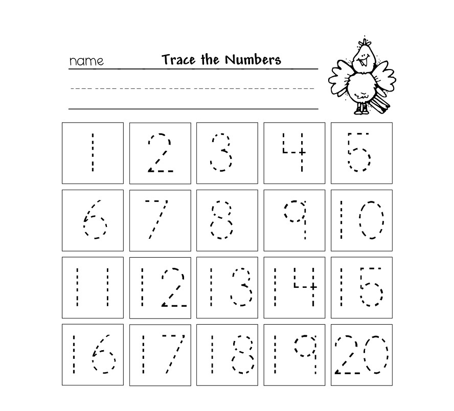 Trace Numbers 1 20 Worksheets
