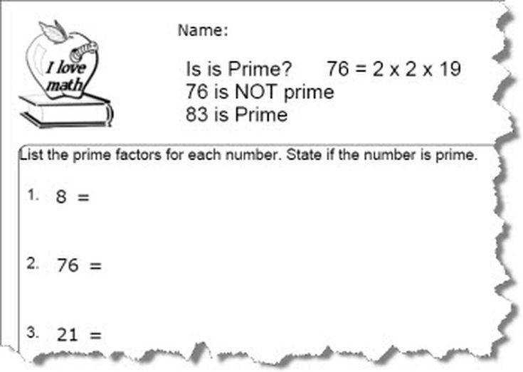 Free Prime Number Worksheets
