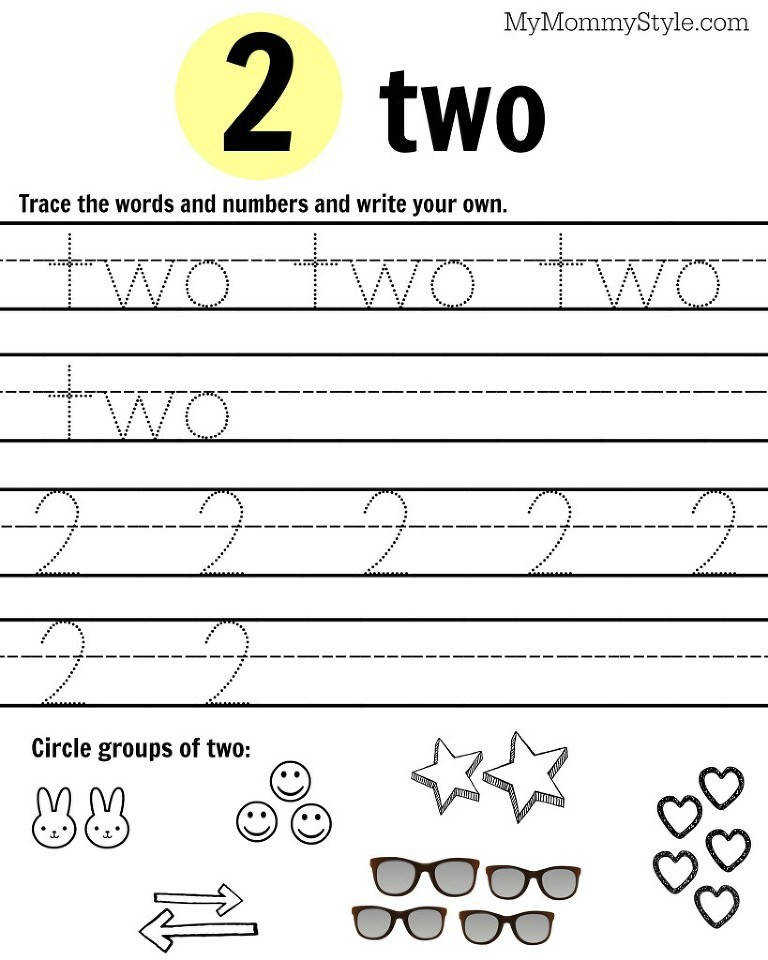 number 2 worksheet