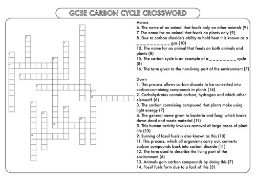 GCSE Crossword Pack on Nutrient Cycles Carbon and Nitrogen by beckystoke Teaching Resources Tes