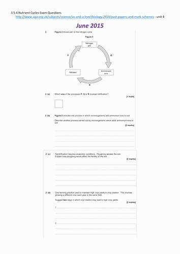 Nutrient Cycles Worksheet Answers Elegant New Spec A Level Biology Aqa 3 5 4 Nutrient Cycles Exam Technique