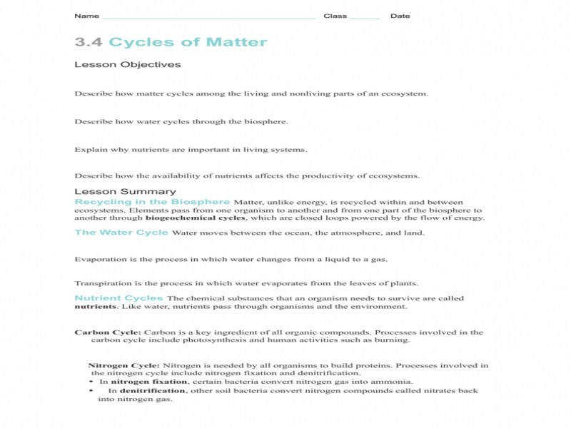 Carbon Cycle Answers – Guillermotull Nutrient Cycle Worksheets