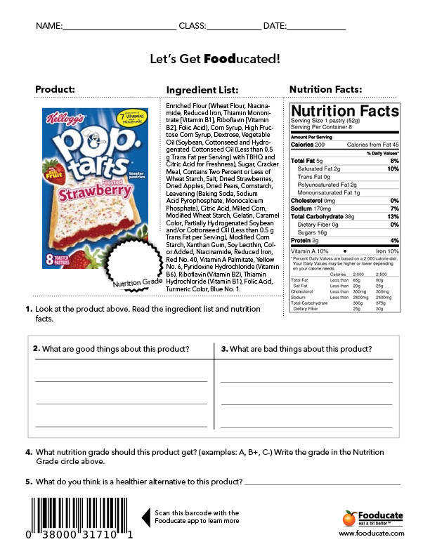 Students will analyze the food label and tell what is good vs what