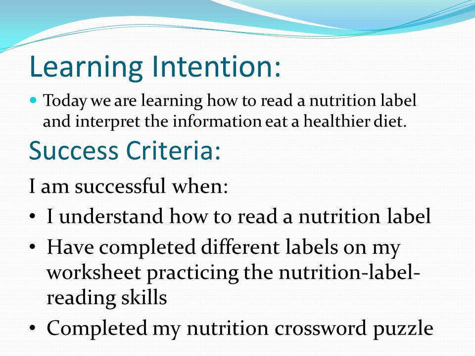 Nutrition Labels 2 Learning