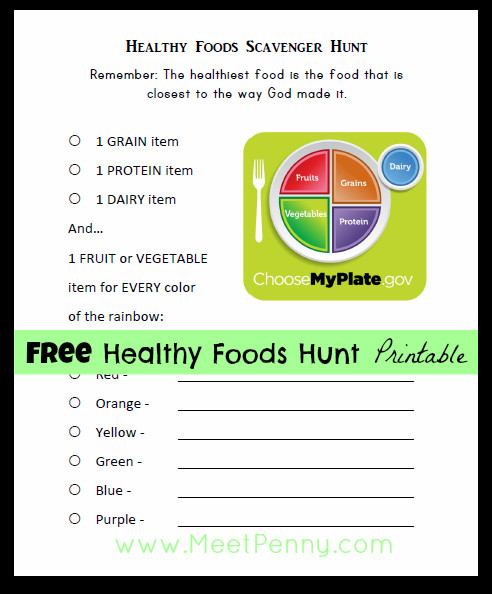 free nutrition lesson printables