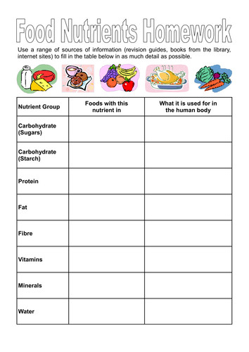 Food Nutrients and Investigation Worksheet by dazayling Teaching Resources Tes