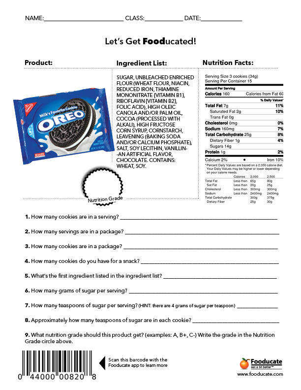 Fun Nutritional Worksheets that teach reading skills and nutrition from Fooducate Potential blizzard bag assignment