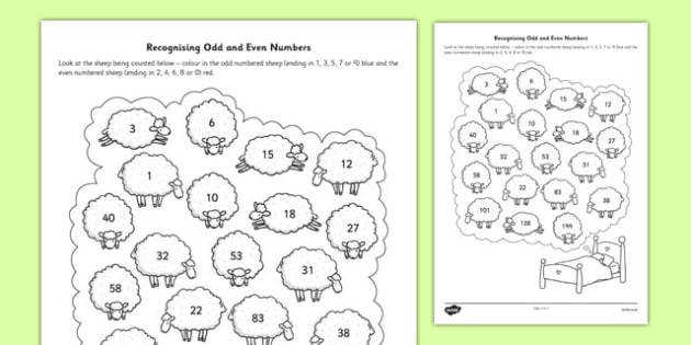 Recognising Odd and Even Numbers Activity Sheet recognise odd and even numbers
