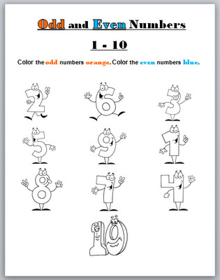 Odd & Even Numbers Worksheet Printable