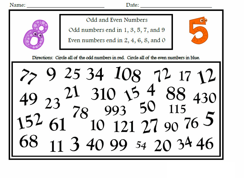 odd or even worksheet printable