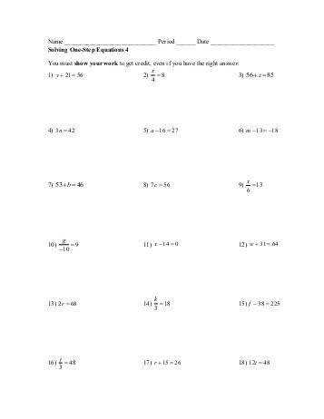Free worksheets for linear equations grades 6 9 pre algebra Solving e Step
