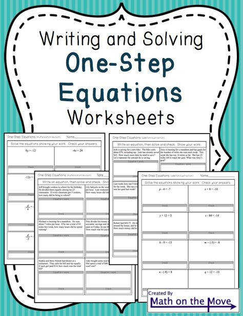 e Step Equation Worksheets Word Problems Math Aids Pinterest