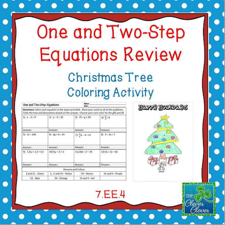 Holiday Math e Two Step and Multi Step Equation Worksheets