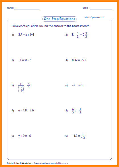 one step equation worksheet who large 9 one step equation