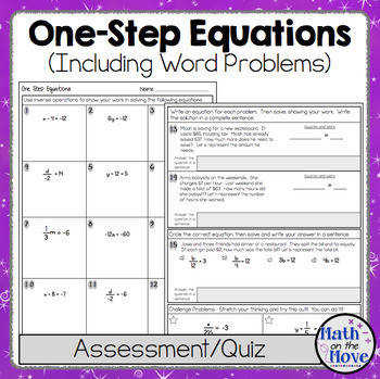 e Step Equations Quiz or Worksheet Includes Word Problems