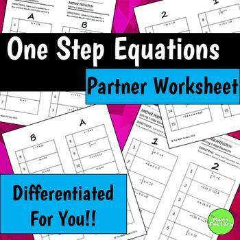 e Step Equations Partner Perfection These differentiated self checking worksheets contain 4