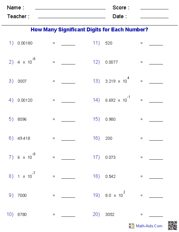 Math Worksheets · Significant Figures Worksheets