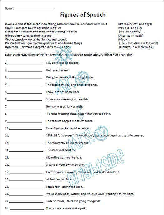 Figurative Language Practice Worksheet
