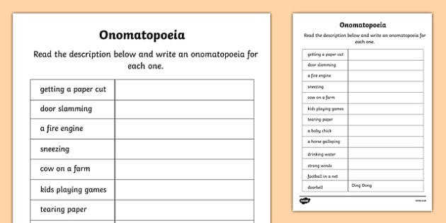 omatopoeia Worksheet onomatopoeia literacy worksheet