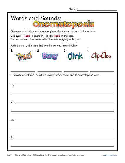 Words and Sounds Printable omatopoeia Lesson Activty