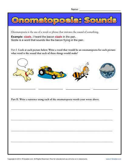 omatopoeia Sounds Free Printable Worksheet Lesson Activity