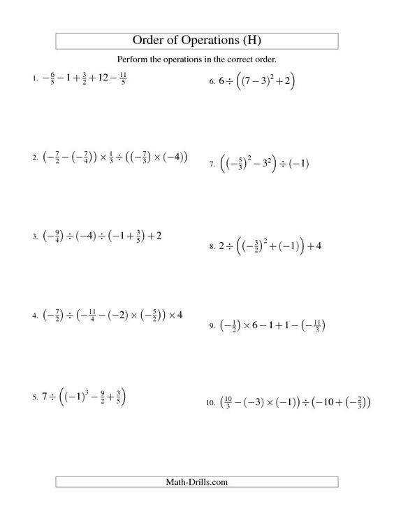 Order of Operations with Fractions Four Steps Including Negative Fractions H Math Pinterest