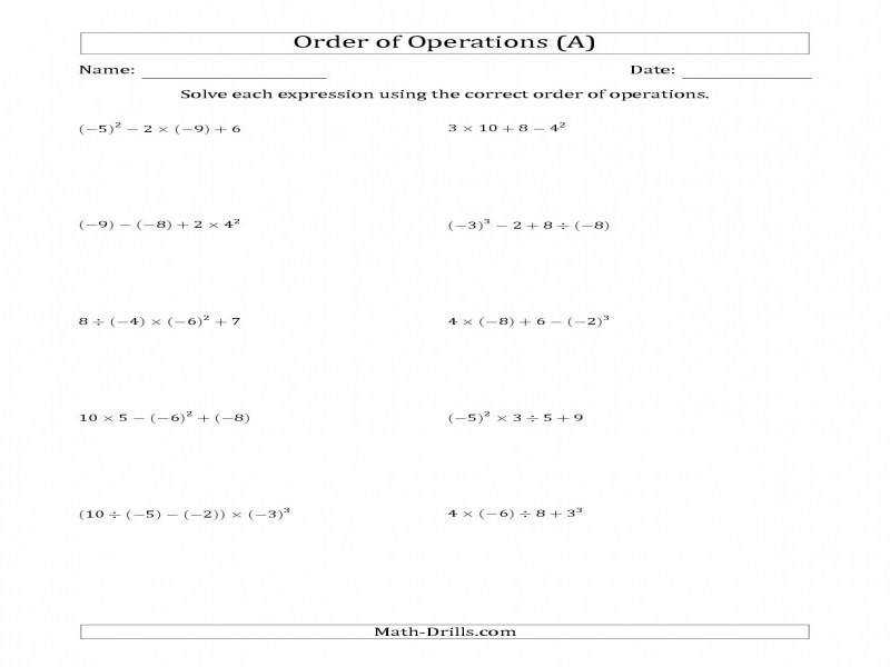 Order Operations With Negative And Positive Integers Four