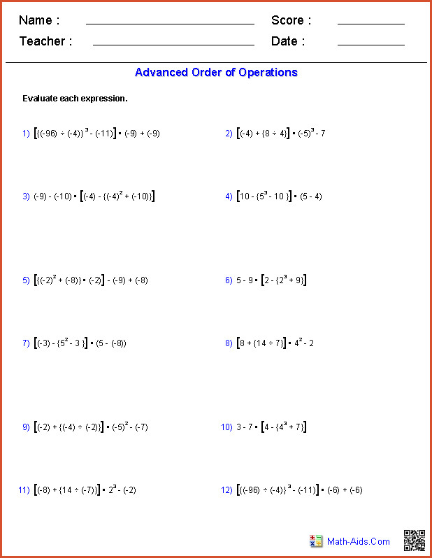 Free order of operations worksheets for 3rd grade