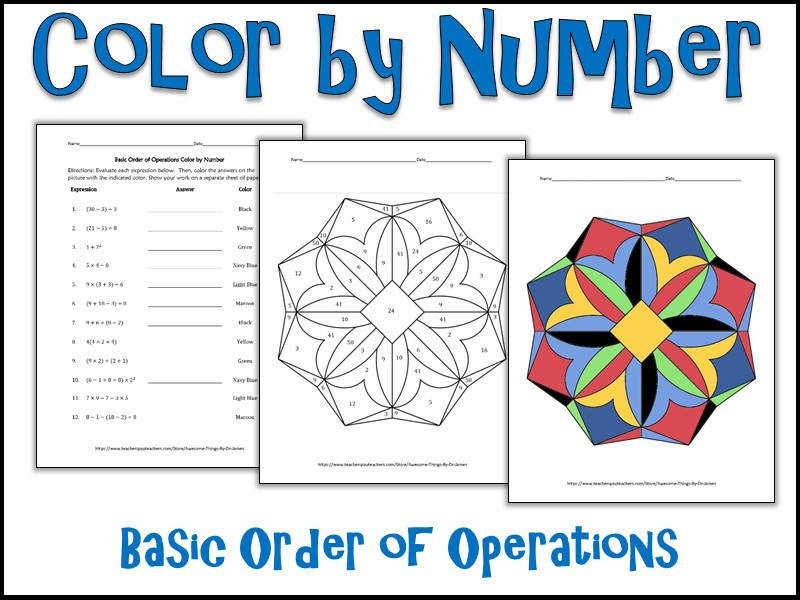 Basic Order of Operations Color by Number by charlotte james615 Teaching Resources Tes