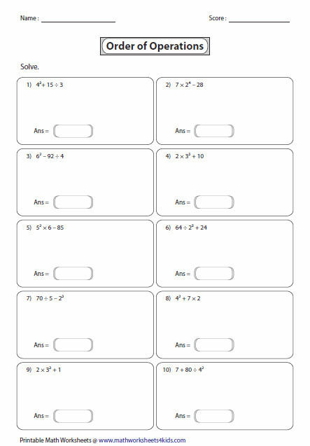 Order of Operations Exponents Level 1