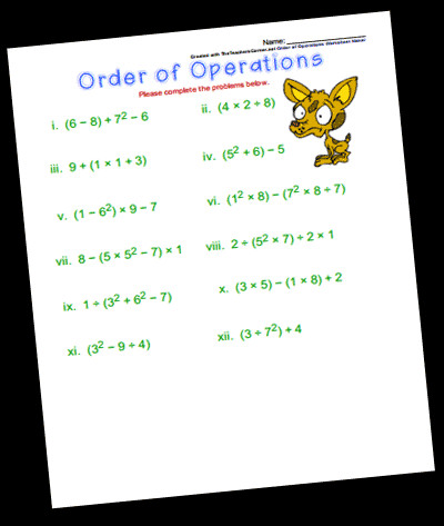 The Order of Operations Worksheet Maker will generate a printable worksheet of problems and an answer key Just choose your options using the form below