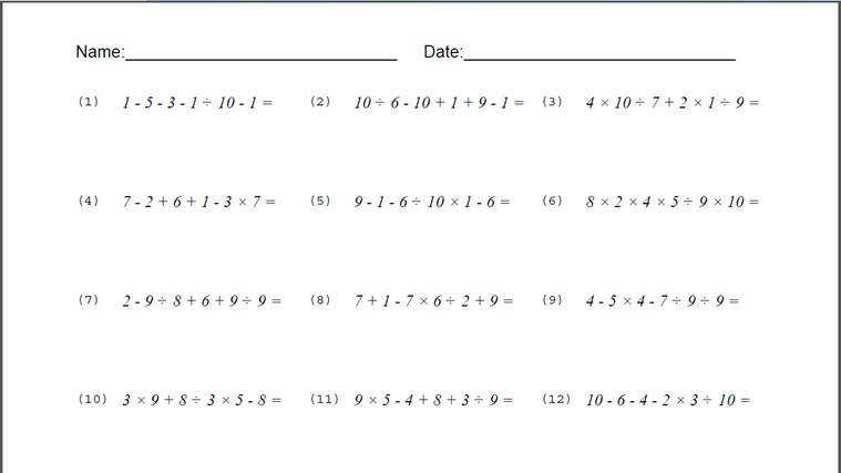 Order Operations Worksheet screen shot 2
