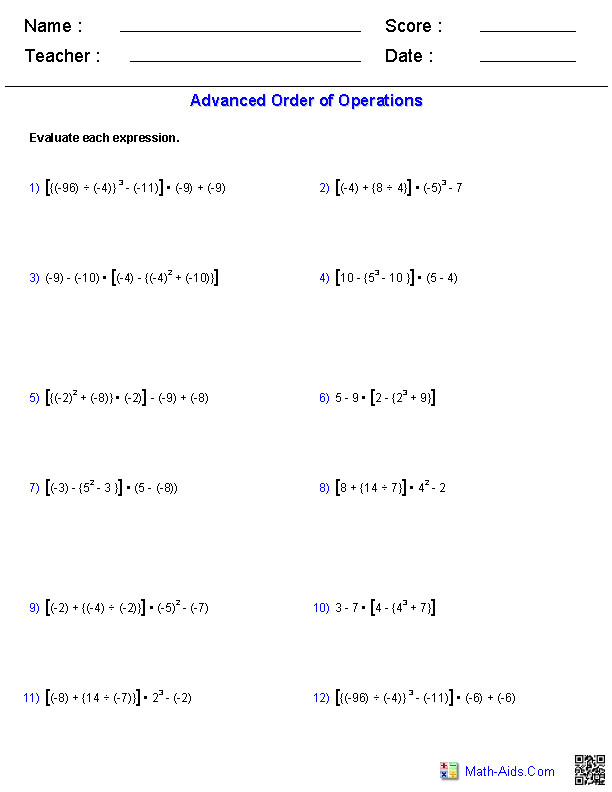 Advanced Order of Operations Problems